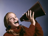 1960s Portrait Teen Cheerleader Girl Shouting into Megaphone Photographic Print