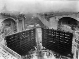 Construction of Panama Canal Locks Photographic Print
