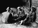 Vagrants Playing Cards in Railroad Car Photographic Print