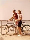 1950s-1960s Teen Couple Standing by Bikes on Beach Boardwalk Fotoprint