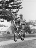 1970s Boy Riding Bike Suburban Sidewalk Photographic Print