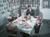 1950s Family of 5 Saying Grace before Thanksgiving Turkey Dinner Mother Father 3 Children Photographic Print