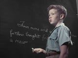 1950s Boy with Freckles at History Class Blackboard Writing Gettysburg Address with Chalk Photographic Print