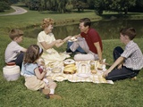 1960s Family Mother Father Daughter and Two Sons Picnicking in Park Outdoor Photographic Print