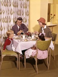 1950s-1960s Family Dining in Restaurant Photographic Print