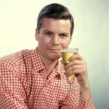 1960s Man Red Checked Shirt Drinking Beer from Pilsner Glass Photographic Print
