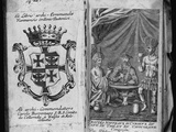 Coat of Arms of Colleredo-Meinz and Wallese Family and Three Men with New Drinks from their Country Fotografie-Druck