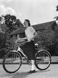 1950s Teen Girl Standing with Bike Fotoprint
