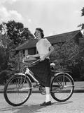 1950s Teen Girl Standing with Bike Photographic Print
