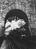 Steam Locomotive at Firth of Forth Bridge Papier Photo