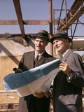 1960s Two Men with Blueprints at Construction Site Photographic Print