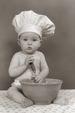 1940s-1950s Baby Cook with Chef Hat Spoon Mixing Bowl Staring Straight Ahead Studio Photographic Print