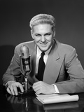 1950s Man Radio Announcer Newscaster Sitting Speaking at Microphone Studio Indoor Photographic Print