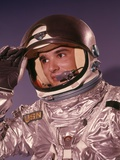 1960s Man Astronaut Lifting Up Visor Helmet Wearing Silver Navy Space Suit Photographic Print