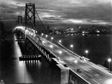 Lights Illuminate the Newly Completed San Francisco Oakland Bay Bridge Photographic Print