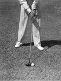 1930s-1940s Man Waist Down with Golf Club Addressing Ball Photographic Print