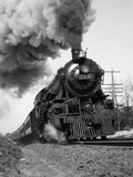 1920s-1930s Steam Engine Pulling Passenger Train Smoke Billowing from Exhaust Stack Photographic Print