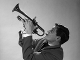 1960s-1970s Man Jazz Musician Playing Trumpet Solo Photographic Print