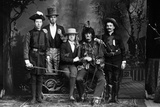 1890s-1900s Portrait Five Men Actors in Various Costumes Against Painted Studio Backdrop Photographie