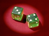 1960s Lucky 7 Green Dice Showing Number 4 Four and 3 Three Symbolic Winner Photographic Print