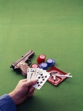 1970s Man Holding Royal Straight Flush in Spades Playing Cards with Semi-Automatic Pistol Photographic Print