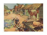 The Farmyard Giclee Print by K. Nixon