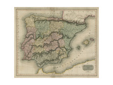 Vintage Map of Spain and Portugal Prints by S.I. Neele