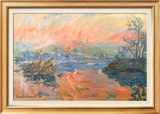 Lavacourt Sunset Art by Claude Monet