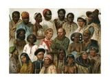 Chromolithograph of Human Races of the World Giclee Print by G. Mutzel