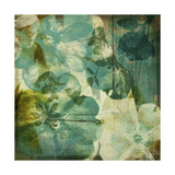 Vintage Teal Blooms II Premium Giclee Print by Ricki Mountain