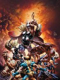 New Avengers No.21 Cover: Thor Fighting Wolverine, Ms. Marvel, Daredevil, Thing, and Spider-Man Poster von Deodato Jr. Mike