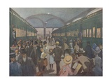 Illustration of Busy Railroad Station Giclee Print by E. Boyd Smith
