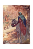 Illustration of Maid Marian Watching a Sword Fight Giclee Print by Harry G. Theaker