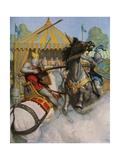 Illustration of Sir Mador Jousting with an Opponent Lámina giclée por Newell Convers Wyeth