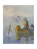 Illustration of King Arthur Receiving Excalibur from the Lady of the Lake Giclee Print by Newell Convers Wyeth