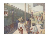 Illustration of Train Traveling Through the Prairie Giclee Print by E. Boyd Smith