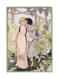 Illustration of a Couple in an Arbor Lámina giclée por John R. Neill