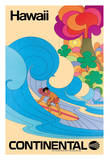 Hawaii - Continental Airlines - Hawaiian Surfer - Psychedelic Flower Power Art Wydruk giclee