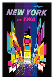 New York - Times Square - Trans World Airlines Fly TWA Reproduction procédé giclée
