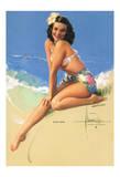 Hawaiian Pin Up Girl - Model was Elsa Kanionapua Edsman, 1952 Miss Universe 1st Runner Up Giclee Print by Rolf Armstrong