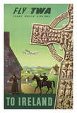 To Ireland - Celtic Cross - Trans World Airlines Fly TWA Giclee Print by S. Greco