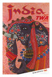 India - Adorned Elephant - Trans World Airlines Fly TWA Jets Giclée-tryk