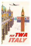 Italy - Piazza San Marco (St. Mark Plaza) - Trans World Airlines Fly TWA Giclée-tryk