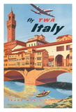 Italy - Trans World Airlines Fly TWA Reproduction procédé giclée