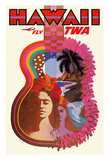 Hawaii - Trans World Airlines Fly TWA - Ukulele Psychedelic Flower Power Art Giclee Print