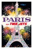 Paris, France - Trans World Airlines Fly TWA Jets - Fireworks at Eiffel Tower Giclee Print
