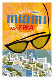 Miami, Florida - Trans World Airlines Fly TWA Reproduction procédé giclée