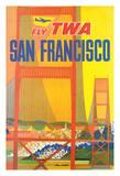 San Francisco - Trans World Airlines Fly TWA - Golden Gate Bridge Reproduction procédé giclée