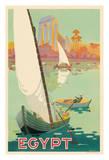 Egypt - Sailboats on the The Nile River Giclée-tryk af H. Hashim