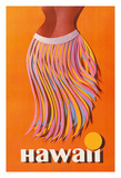 Hawaii - Hula Skirt - Pan American Airlines (PAA) Giclée-tryk